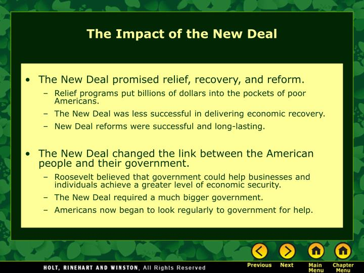 the impact of the new deal on Impact of the new deal this lesson presents the dissenting views of new deal programs and the government's involvement in the economy students debate the merits and drawbacks of both sides.