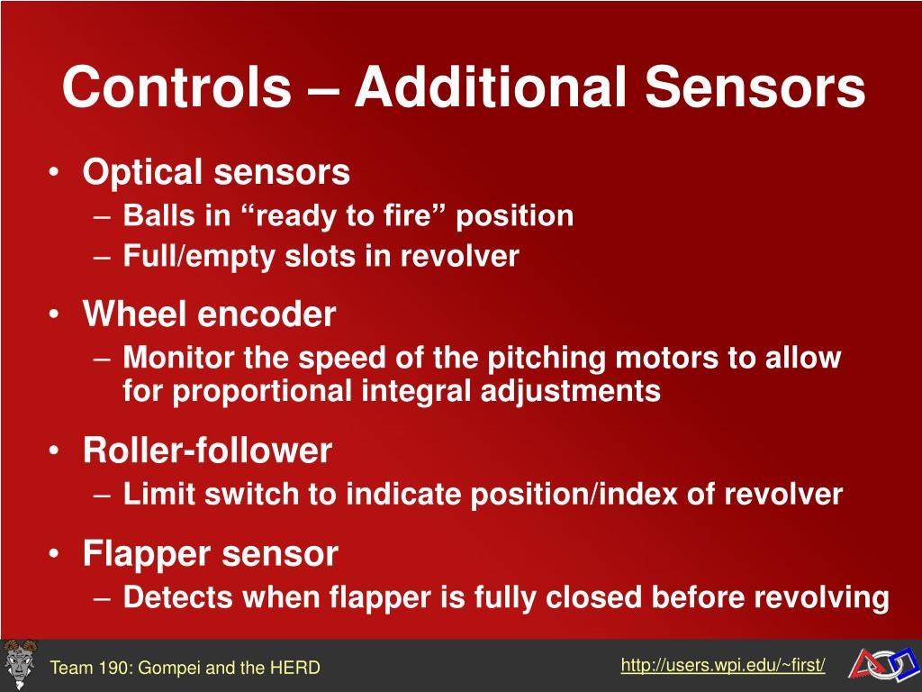 Controls – Additional Sensors