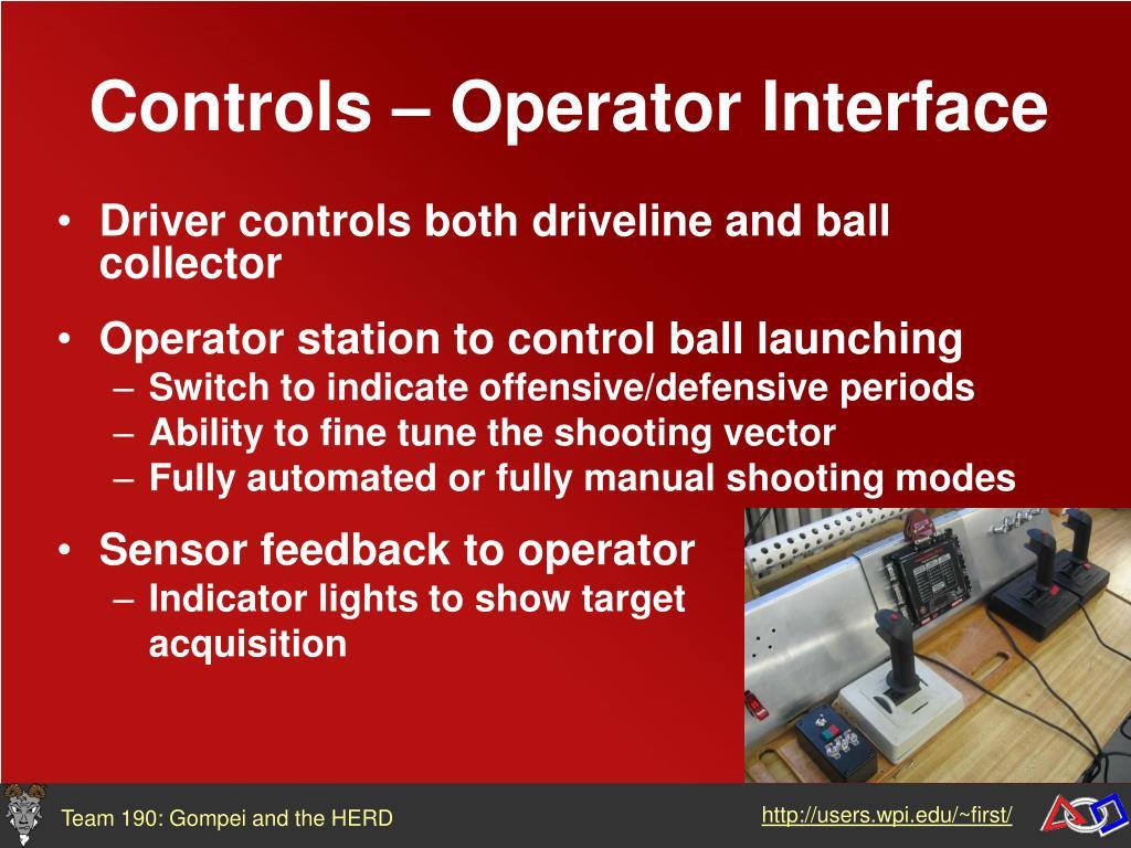 Controls – Operator Interface