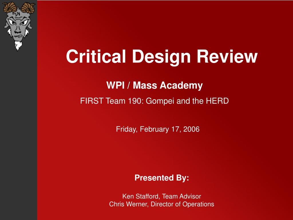 Critical Design Review