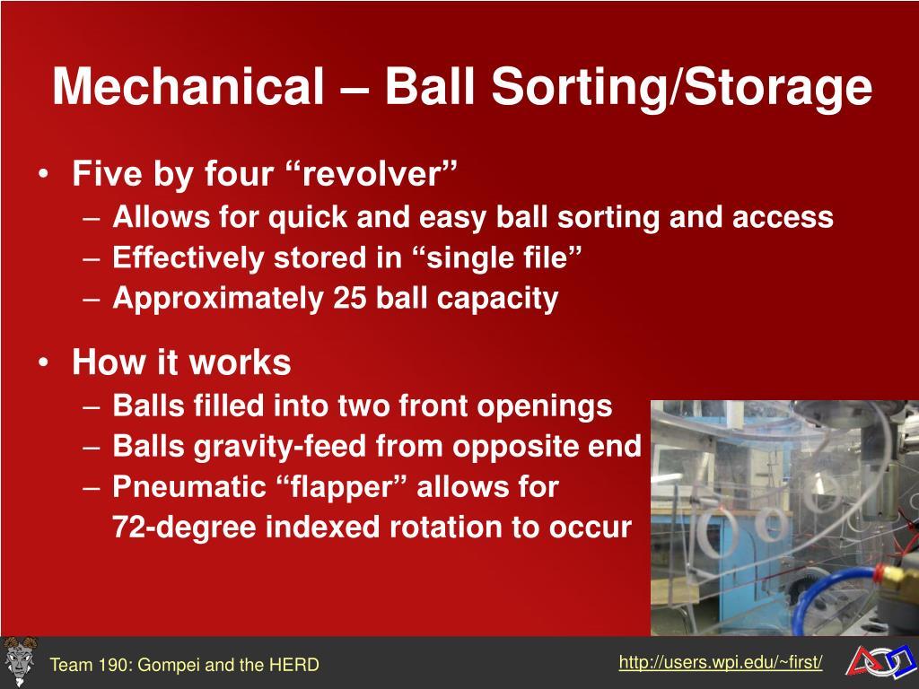 Mechanical – Ball Sorting/Storage