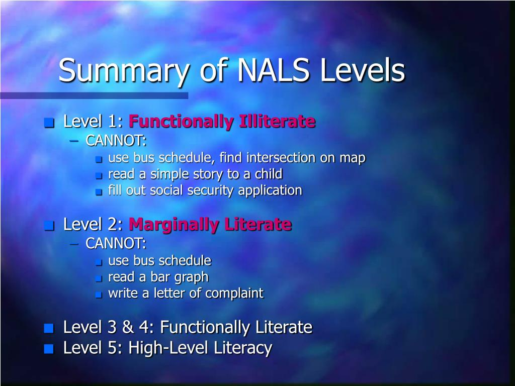 Summary of NALS Levels