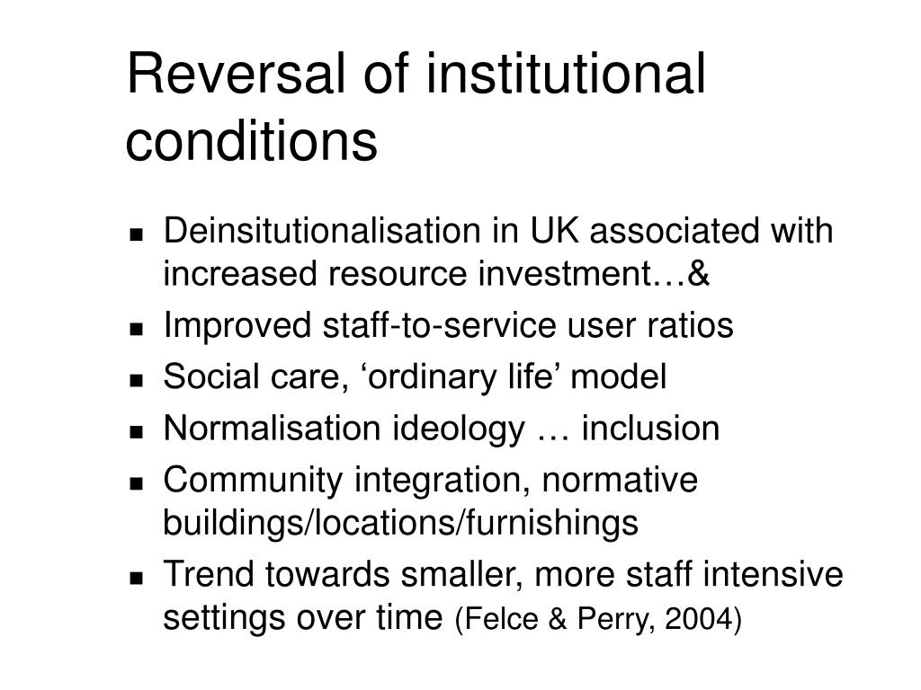 Reversal of institutional conditions
