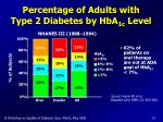 percentage of adults with type 2 diabetes by hba 1c level