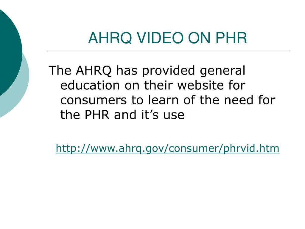 AHRQ VIDEO ON PHR