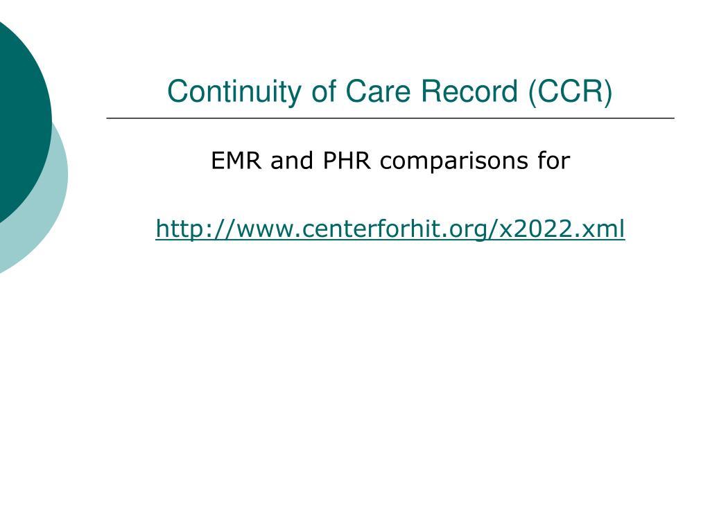 Continuity of Care Record (CCR)