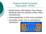 regional health exchange organization rhio