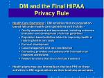 dm and the final hipaa privacy rule9