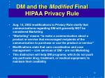 dm and the modified final hipaa privacy rule