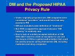 dm and the proposed hipaa privacy rule