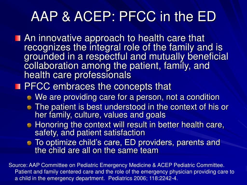 AAP & ACEP: PFCC in the ED