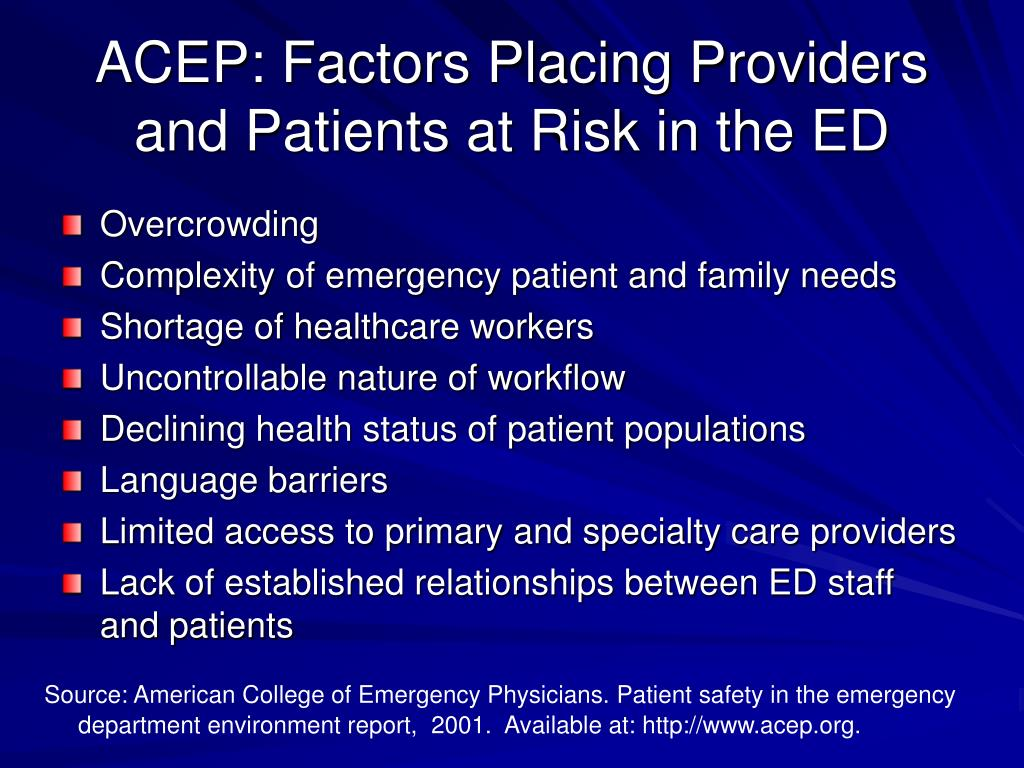 ACEP: Factors Placing Providers and Patients at Risk in the ED