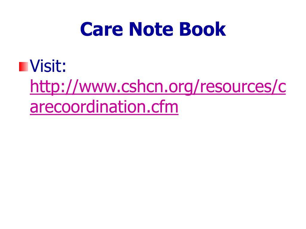 Care Note Book