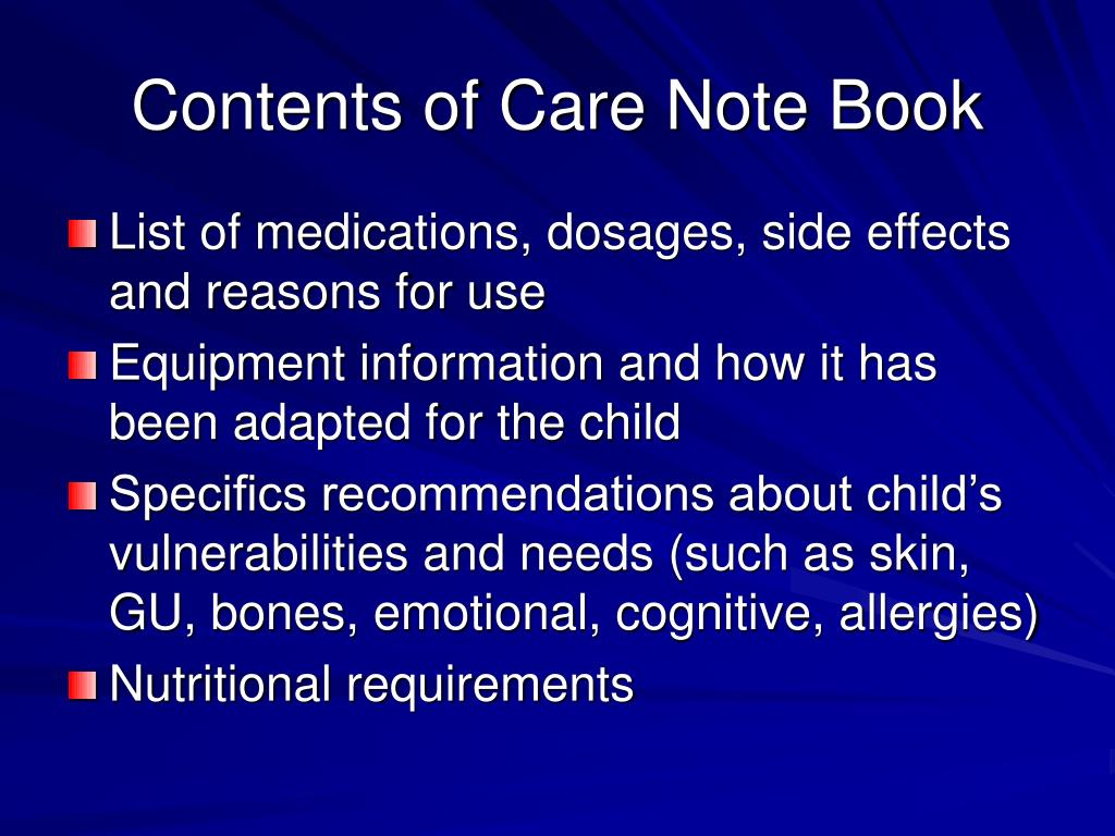 Contents of Care Note Book