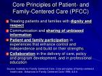 core principles of patient and family centered care pfcc