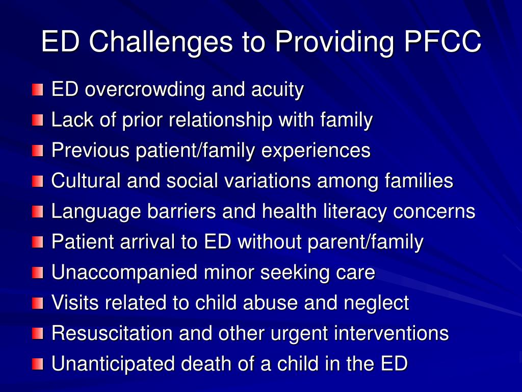 ED Challenges to Providing PFCC