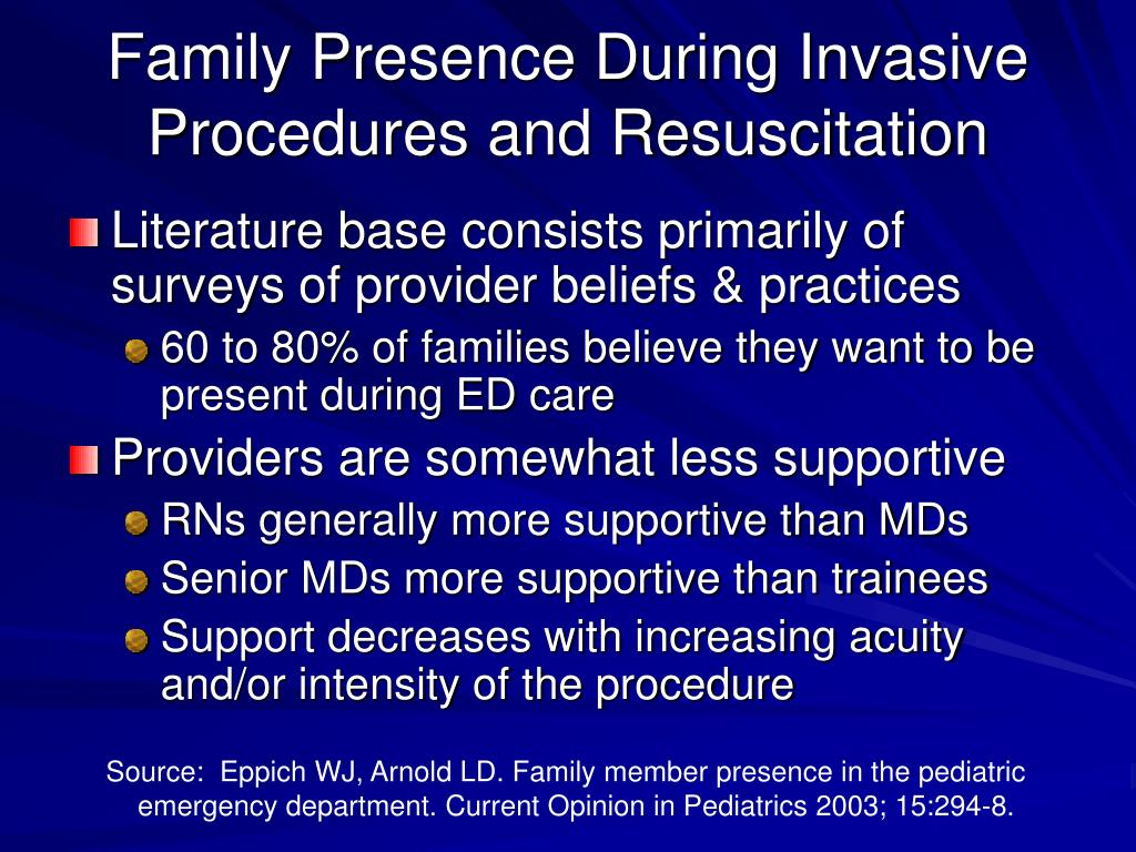 Family Presence During Invasive Procedures and Resuscitation