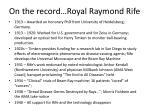 on the record royal raymond rife