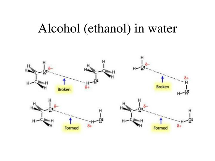 Alcohol ethanol in water