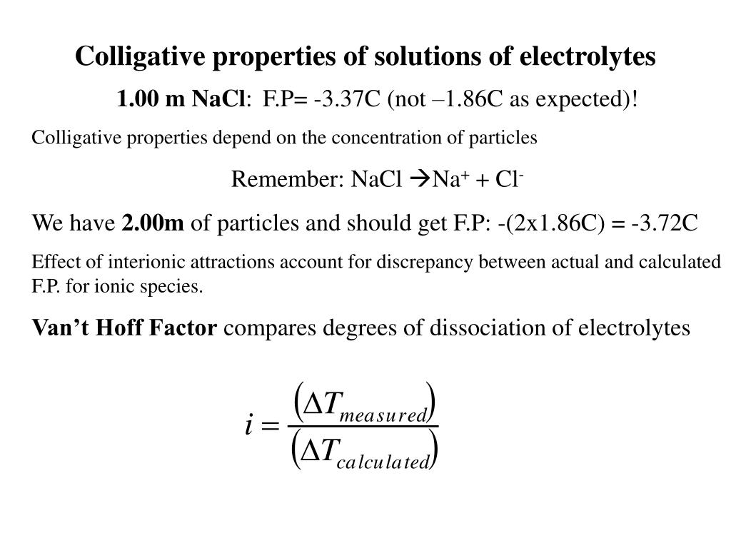 Colligative properties of solutions of electrolytes
