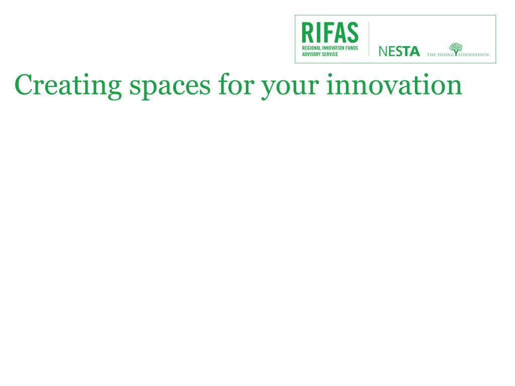 Creating spaces for your innovation