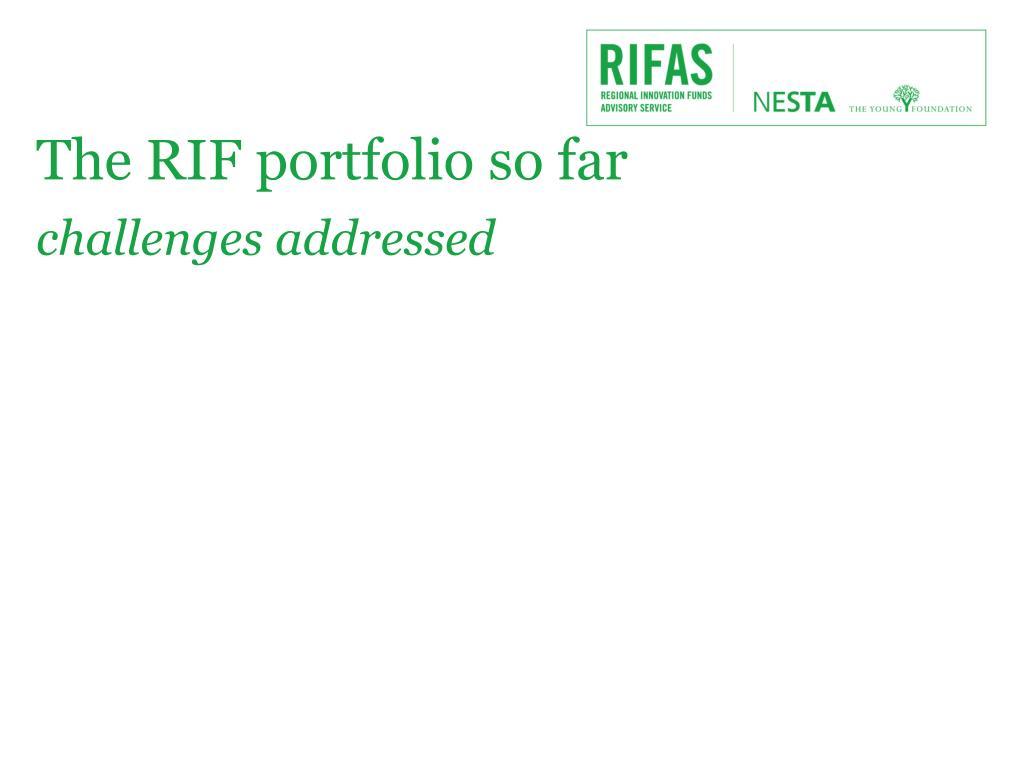 The RIF portfolio so far