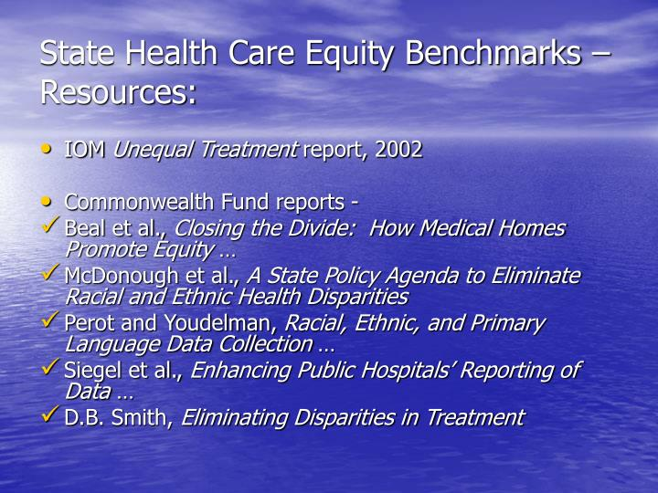 State health care equity benchmarks resources