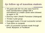 4yr follow up of transition students