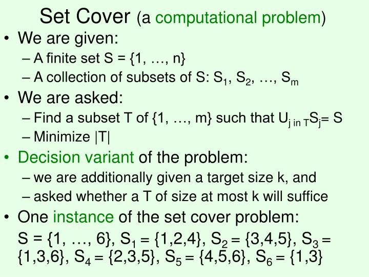 Set cover a computational problem