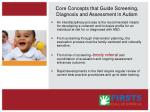 core concepts that guide screening diagnosis and assessment in autism52