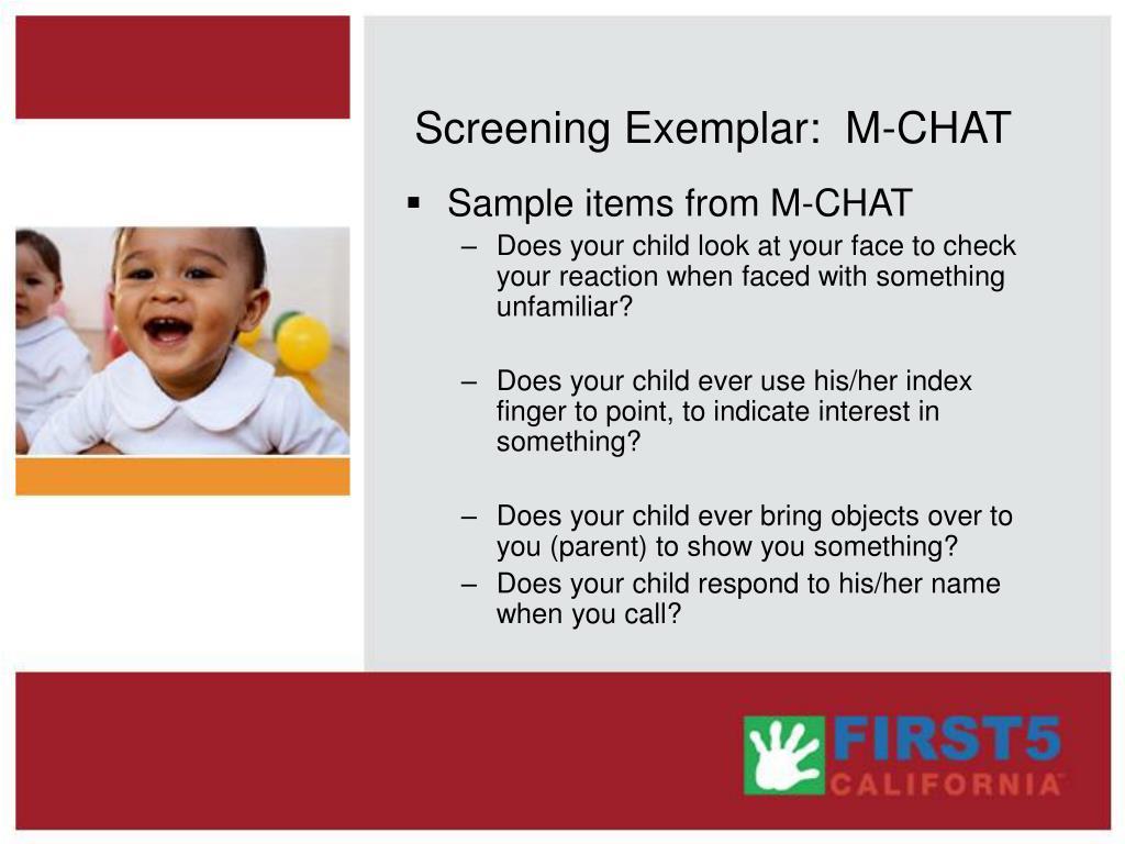 Screening Exemplar:  M-CHAT