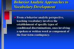 behavior analytic approaches to vocabulary development