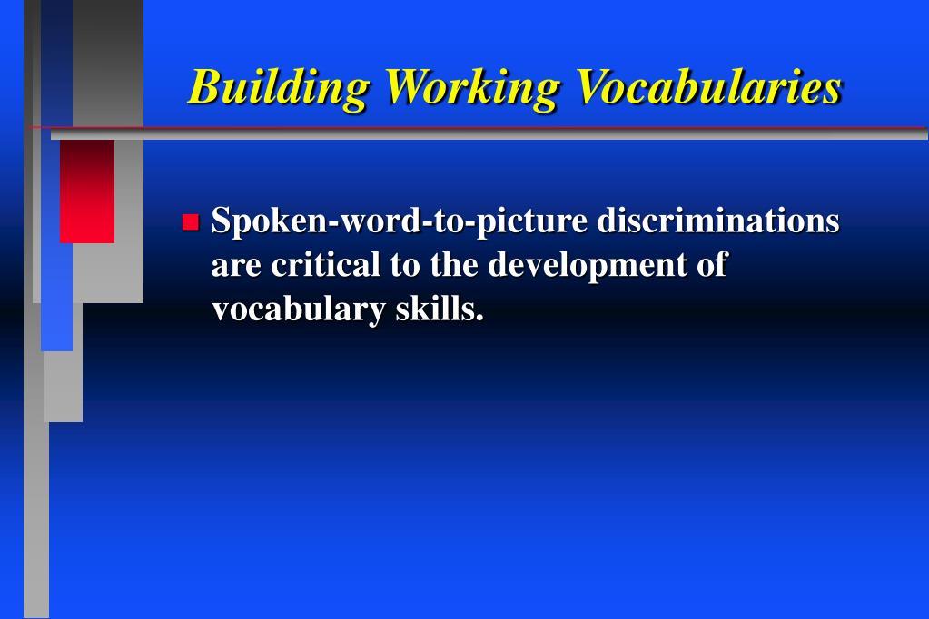 Building Working Vocabularies