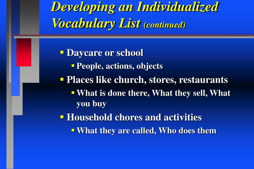 Developing an Individualized Vocabulary List