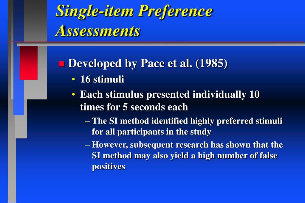 Single-item Preference Assessments