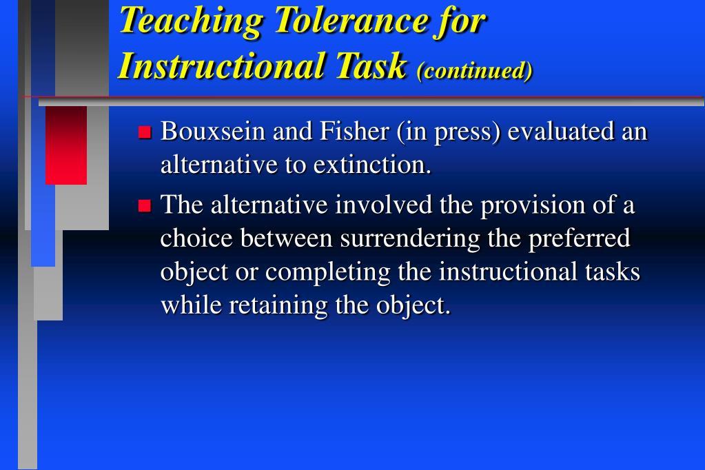 Teaching Tolerance for Instructional Task