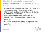 what does the law require when a child s behavior impedes his or her learning or that of others
