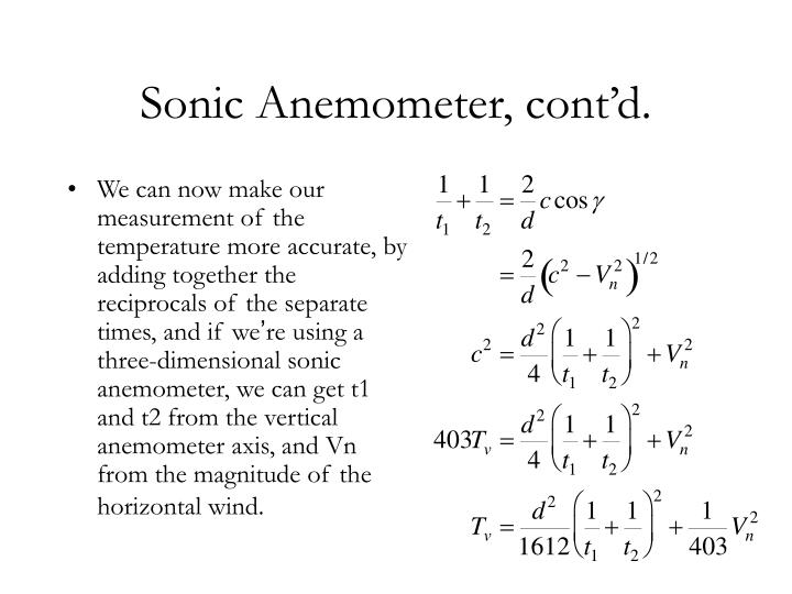 Sonic Anemometer, cont'd.