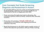 core concepts that guide screening diagnosis and assessment in autism37