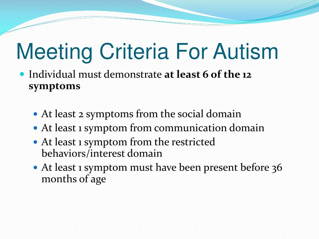 Meeting Criteria For Autism