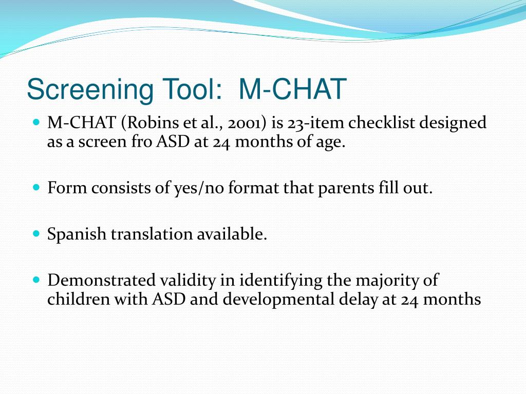 Screening Tool:  M-CHAT