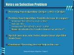 notes on selection problem