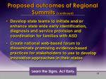 proposed outcomes of regional summits continued
