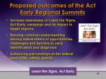 proposed outcomes of the act early regional summits