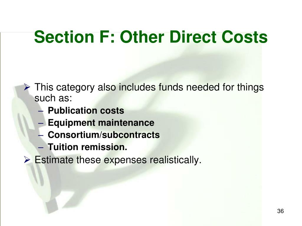 Section F: Other Direct Costs