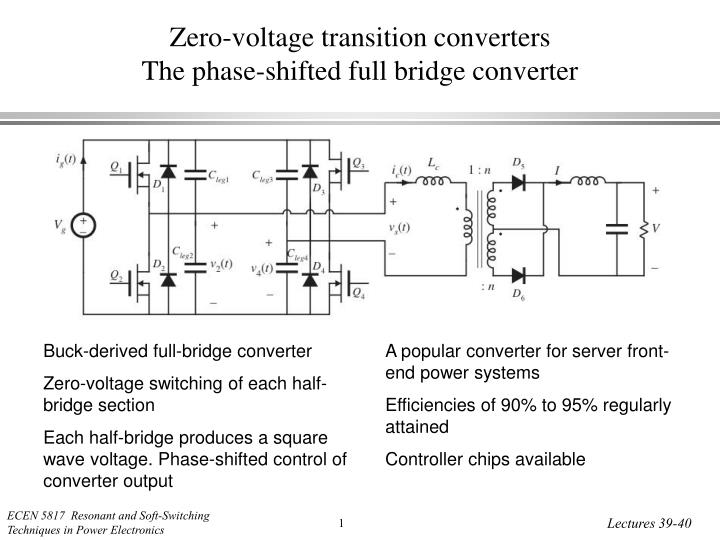 zero voltage transition converters the phase shifted full bridge converter n.