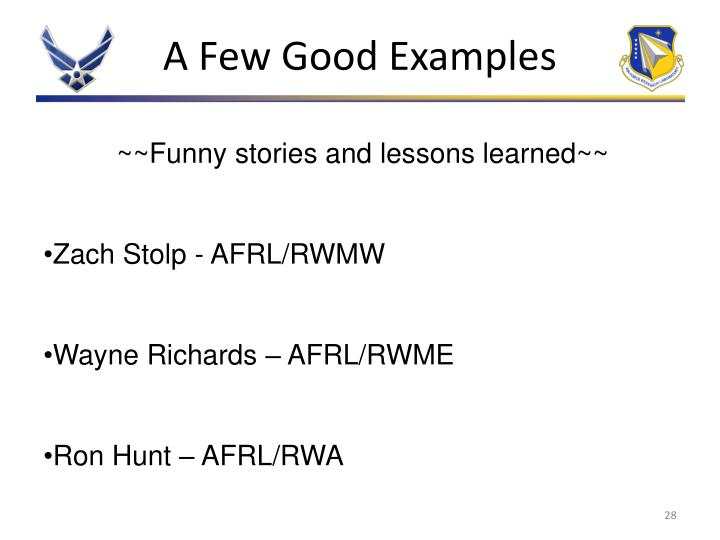 A Few Good Examples