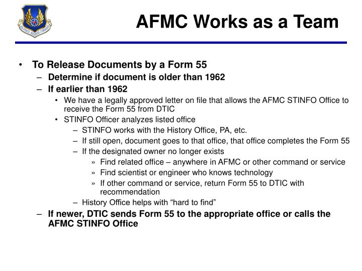 AFMC Works as a Team