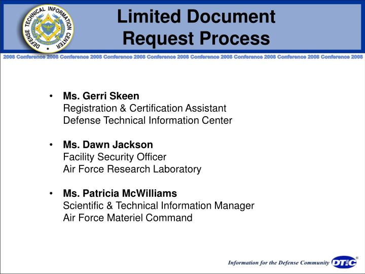 Limited Document                 Request Process