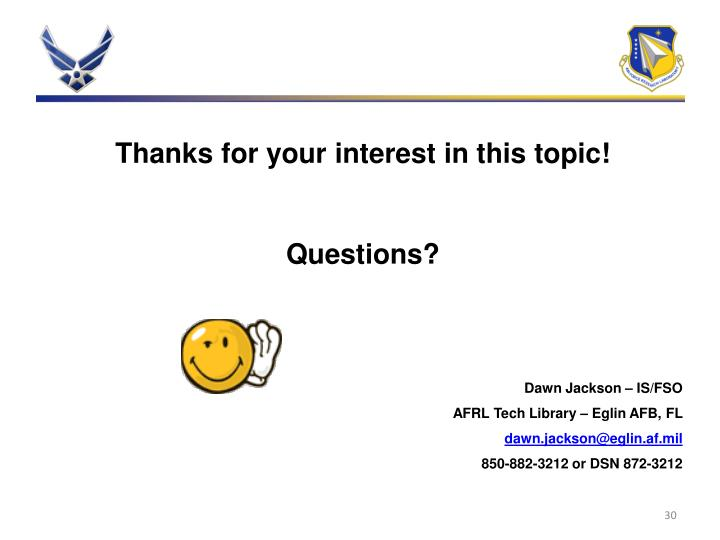 Thanks for your interest in this topic!
